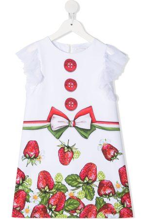 MONNALISA Strawberry-print cotton dress