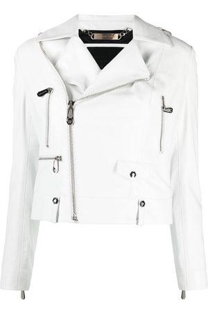 Philipp Plein Cropped leather biker jacket