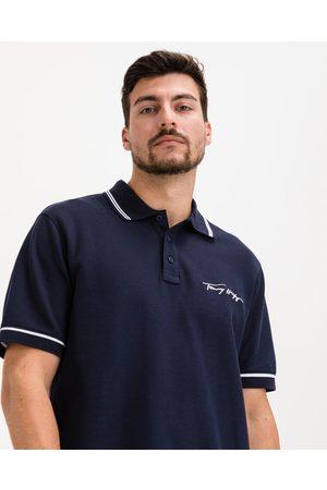 Tommy Hilfiger Homem Pólos - Tipped Signature Polo Shirt Blue