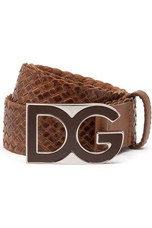 Dolce & Gabbana Homem Cintos - Woven logo-plaque belt
