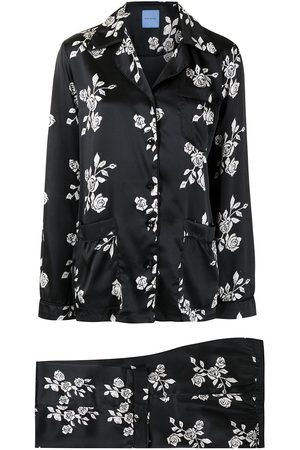 Macgraw Rose print silk pajama set