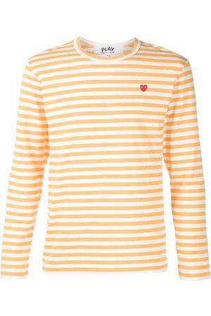 Comme des Garçons Homem T-shirts & Manga Curta - Heart logo striped T-shirt