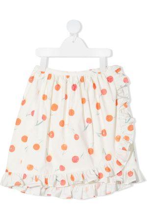 Bonpoint Menina Saias Estampadas - Orange-print ruffle-trim skirt