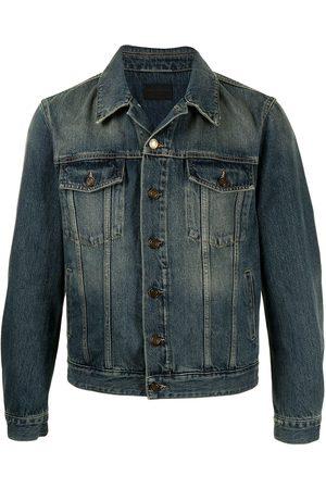 Saint Laurent Homem Casacos - Faded-effect denim jacket