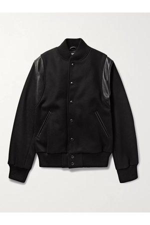 Golden Bear Homem Casacos de Pele - The Hayes Leather-Panelled Wool-Blend Bomber Jacket