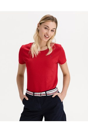 Tommy Hilfiger Senhora T-shirts & Manga Curta - Slim Round T-shirt Red