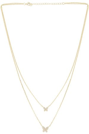 The M Jewelers Double Pave Butterfly Necklace in - Metallic . Size all.