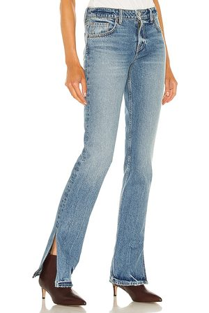GRLFRND Hailey Low Rise Slim Boot in - Blue. Size 23 (also in 26, 24, 25, 27, 28, 29).