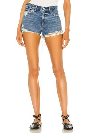 GRLFRND Helena High Rise Cut Off Short in - Blue. Size 23 (also in 26, 24, 25, 27, 28, 29, 30, 31, 32).