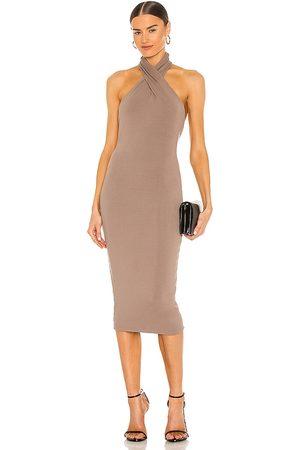 NBD Anju Midi Dress in - Taupe. Size L (also in S).