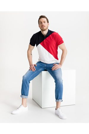 Tommy Hilfiger Diagonal Colorblock Polo Shirt Blue Red White