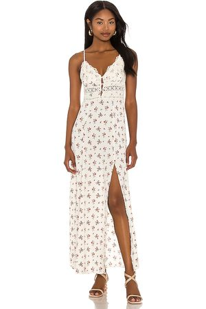 Free People Senhora Vestidos Compridos - Out And About Maxi Slip Dress in - Ivory. Size L (also in XS, S, M).