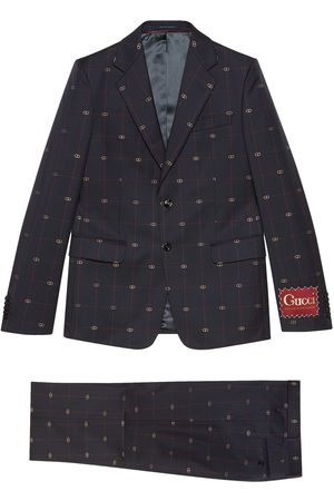 Gucci Homem Fatos - GG embroidered single-breasted suit