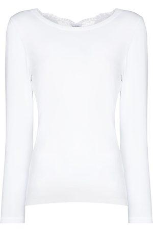 La Perla Senhora Pijamas - Souple lace-trim cotton pyjama top