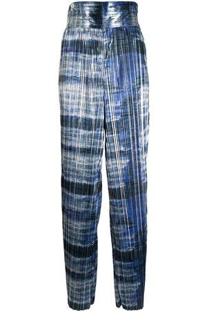 Semsem Senhora Calças à Boca-de-sino - Metallic plissé wide-leg trousers