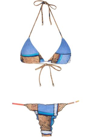 AMIR SLAMA Striped print Eco bikini set