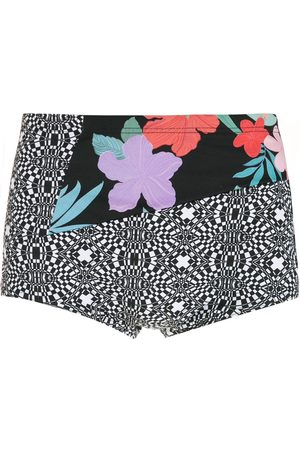 AMIR SLAMA Striped panels Hibiscus swimming trunks