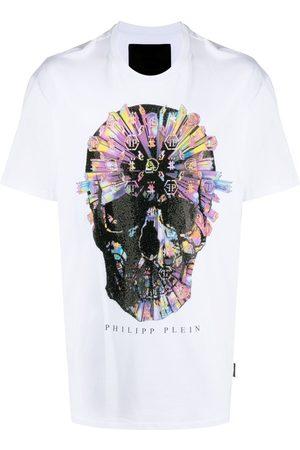 Philipp Plein Homem T-shirts & Manga Curta - Skull-appliqué T-shirt