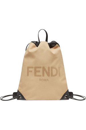 Fendi Flocked logo drawstring backpack