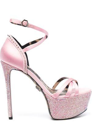 Philipp Plein Embellished satin platform sandals
