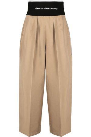 Alexander Wang Senhora Calças à Boca-de-sino - Logo-waistband wide-leg trousers
