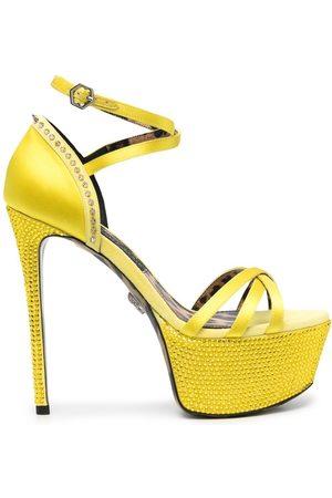 Philipp Plein Senhora Sandálias com plataforma - Embellished satin platform sandals
