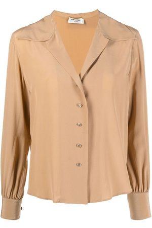 Saint Laurent Open-collar silk blouse