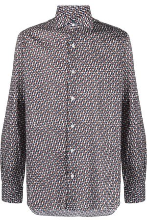 BARBA Geometric-print cotton shirt