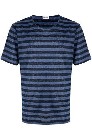 Saint Laurent Logo-embroidered striped T-shirt
