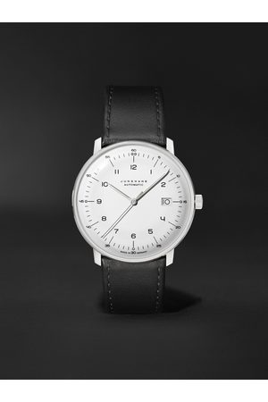 Junghans Homem Relógios - Max Bill Automatic 38mm Stainless Steel and Leather Watch, Ref. No. 027/4700.02