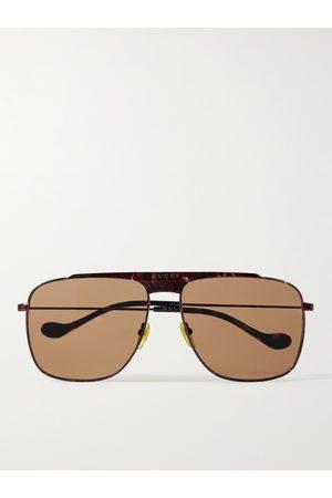 Gucci Homem Óculos de Sol - Aviator-Style Metal Sunglasses