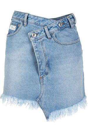 GCDS Senhora Mini-saias - Asymmetric mini denim skirt