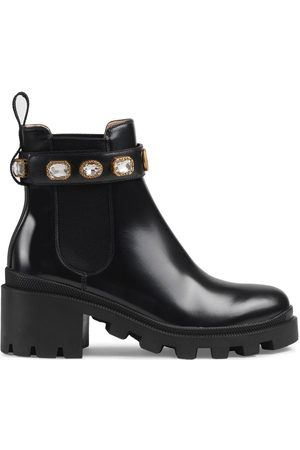 Gucci Senhora Botins - Leather ankle boot with belt