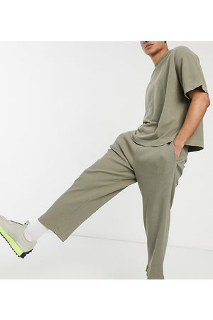 COLLUSION Relaxed tapered joggers in heavy compact rib fabric in khaki co-ord-Green