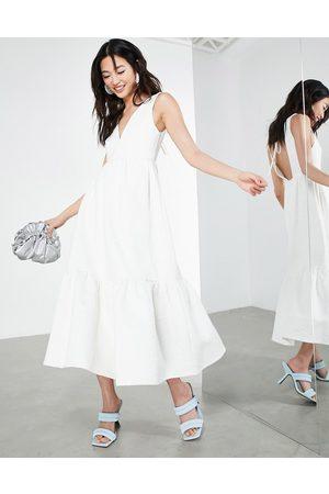 ASOS Textured floral midi dress in white
