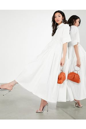 ASOS Oversized tiered shirt dress in white