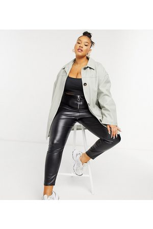 ASOS ASOS DESIGN Curve oversized faux leather quilt lined shacket in grey-Green