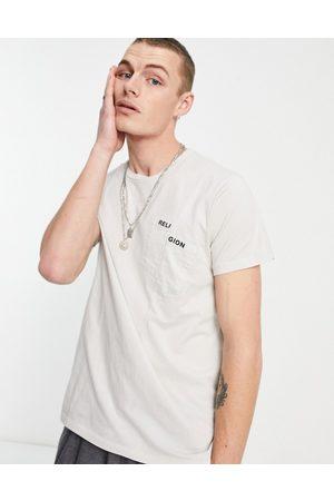 Religion Split pocket t-shirt in ivory-Neutral