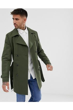 ASOS Shower resistant double breasted trench coat in khaki-Green