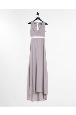 TFNC Bridesmaid plunge front bow back maxi dress in grey
