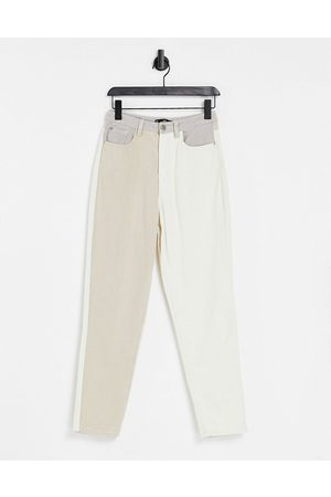 Missguided Senhora Slim - Riot jean with neutral patch detail in cream-White