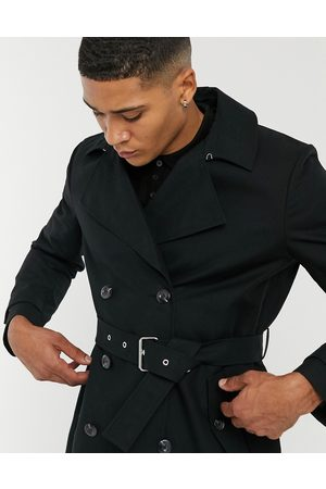 ASOS Shower resistant double breasted trench coat in black