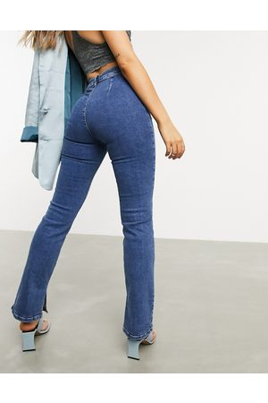 ASOS High rise 'Y2K' stretch flare jeans in midwash-Blue