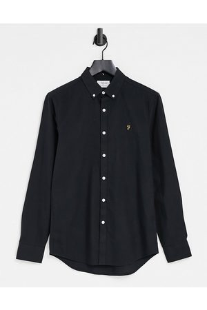 Farah Brewer slim fit organic cotton oxford shirt in black
