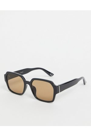 ASOS 70's square sunglasses in black plastic with smoke brown lens