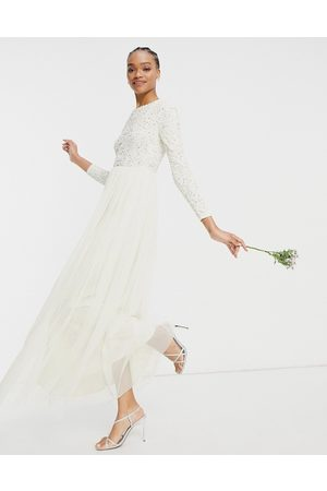 Maya Bridal long sleeved maxi dress with delicate sequin and tulle skirt in ecru-White