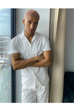 ASOS Regular short sleeve shirt with revere collar in white