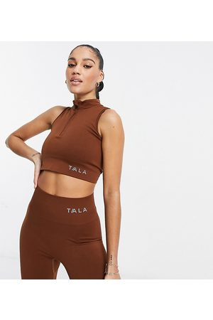 Tala Zahara medium support sports bra with half zip in brown - exclusive to ASOS