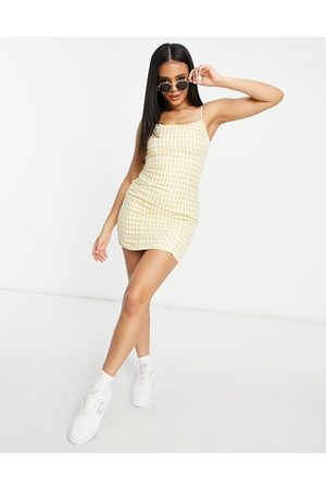 Missguided Bodycon mini dress with slim strap in yellow gingham