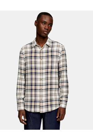 Topman Long sleeve check shirt in khaki and yellow-Multi